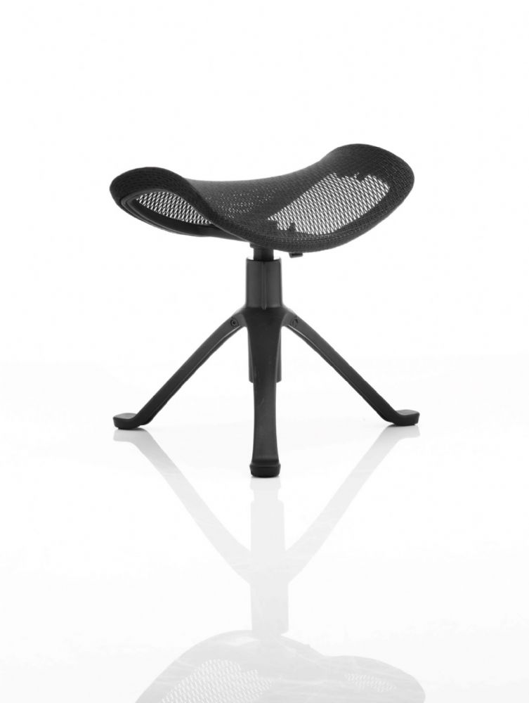 Ergonomic Footstool Black Mesh Tripod Leg Design Low Stool Ratchet Height Adjustment